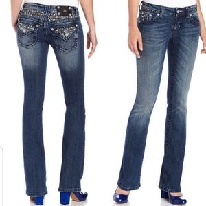 MISS ME Pearl and Studs Bootcut Jeans 29 Embellish